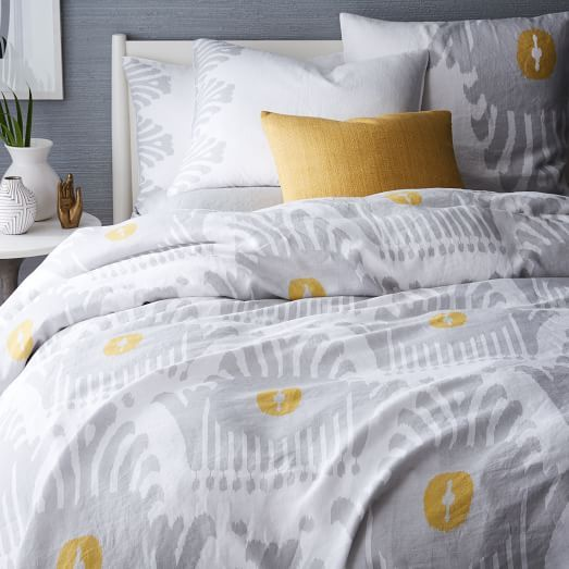 Our Belgian Flax Linen Stamped Ikat Bedding Feels Bold With Its Oversized,  Turkish Tile Inspired Motif. Itu0027s Woven From Fine Belgian Flax And Washed  For A ...