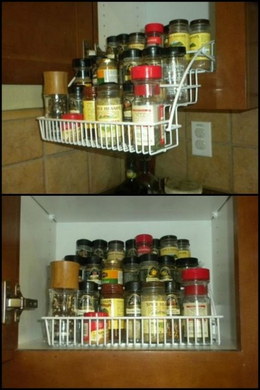 Keep all your spices in one place and easy for you to access with this pull down spice rack!