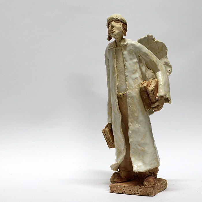 The angel with books/Ceramic Sculpture /Unique Ceramic Figurine /Ceramic Angel by arekszwed on Etsy