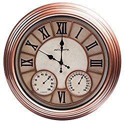 AcuRite 70561 Metal Outdoor Clock with Thermometer and Humidity, 18-Inch