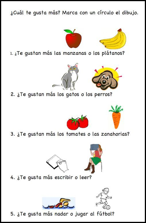 This free printable activity with gustar uses a lot of food vocabulary in Spanish.