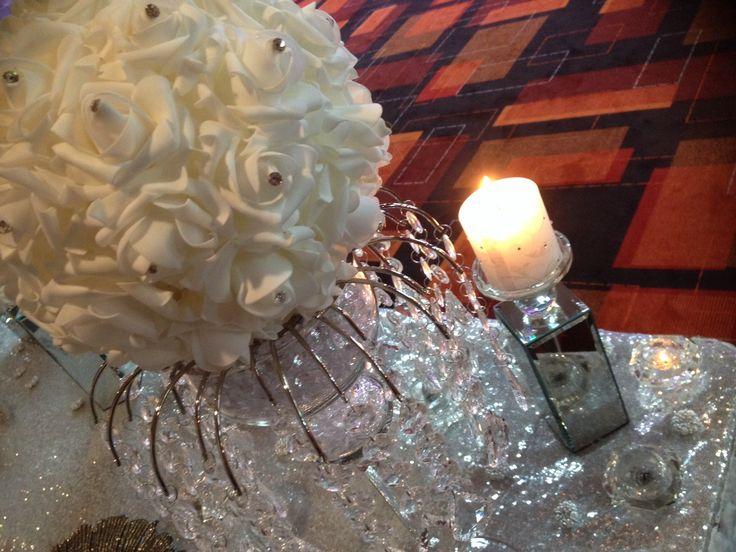 Crystal centrepieces, diamanté, pearl sequin, rose balls with diamanté, sequin table covers