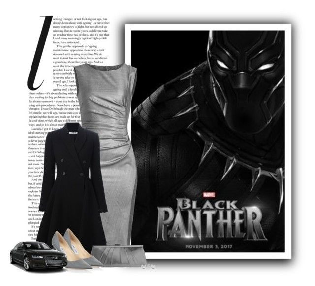 """""""T'Challa (Black Panther)"""" by ameve ❤ liked on Polyvore featuring MaxMara, Givenchy, Gunne Sax By Jessica McClintock, Jewelonfire and Jimmy Choo"""