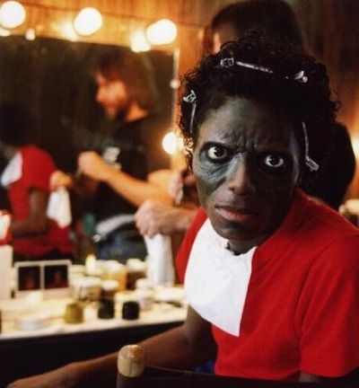 Michael Jackson getting into Zombie makeup for the Thriller video c.1982 viaHistory In Pictures