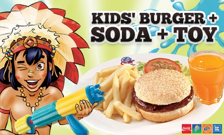 #Specials | Spur Steak Ranches. We know what will keep the kids happy. A hamburger, soda and a toy. Added to this the kids can play for hours in spurs outdoor kids play area. Included is an option for kids face painting. Its all about kids fun at Spur