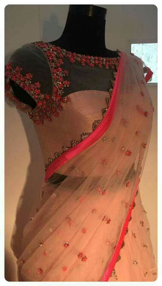 Net blouse and net saree