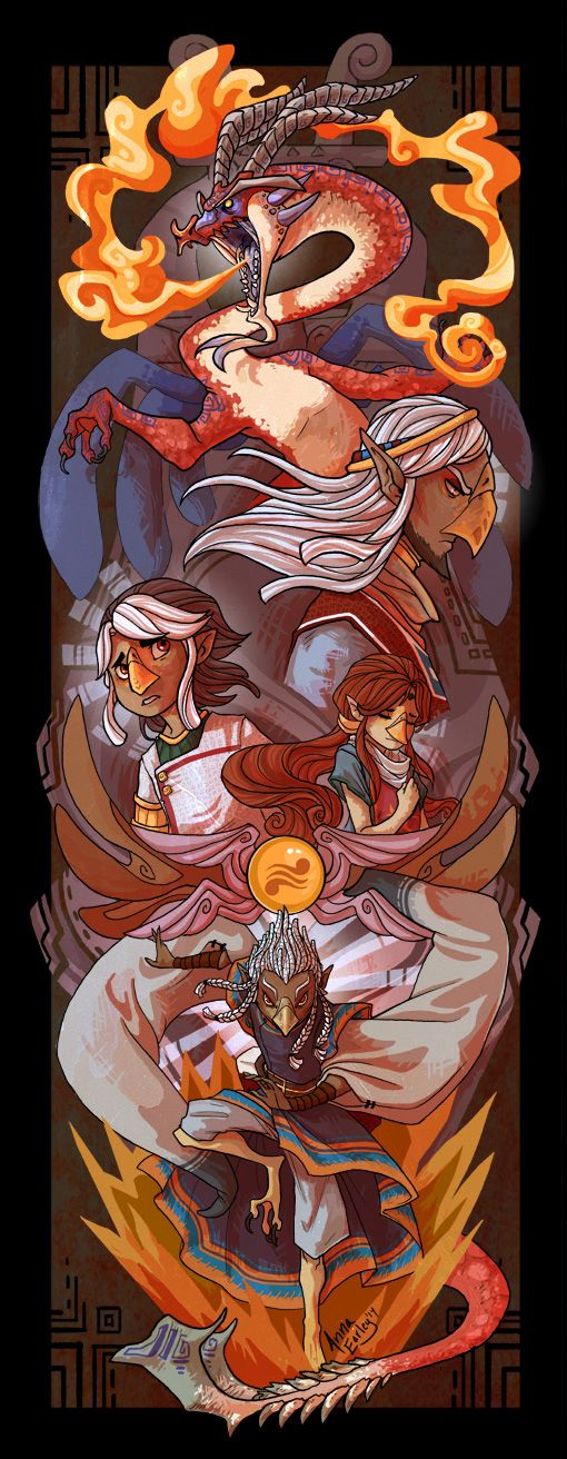 The Legend of Zelda: The Wind Waker | Valoo, Rito Chieftain, Prince Komali, Medli, and Quill / Dragon Roost by Turtle-Arts on deviantART