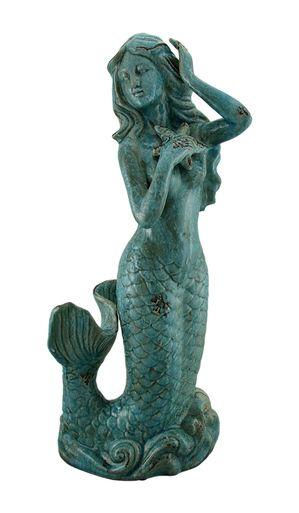 Mermaid's Wave Blue Vintage Finish Ceramic Mermaid Statue 23 Inch
