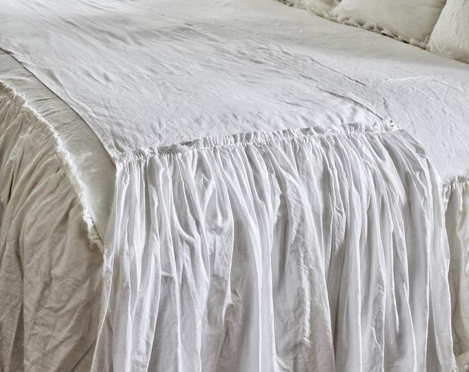 Ruffled Bedspread Shabby Chic Bedding Ruffled Bed Cover Ruffled Coverlet Ruffled Bedding Linen Bedding Ruffled Bedding Shabby Chic Bedding Shabby Chic Interiors Shabby Chic Pillows