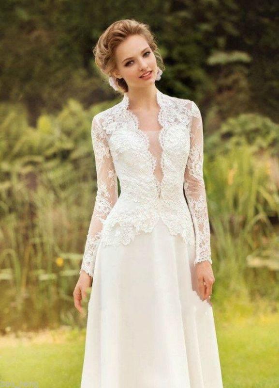 Neu Vintage Spitze Brautkleid Elfenbein Langarm Abendkleid Partykleid Ballkleid