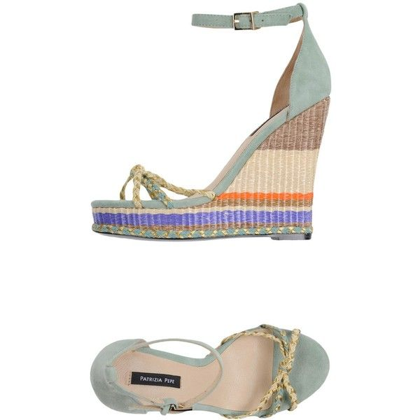 Patrizia Pepe Espadrilles ($160) ❤ liked on Polyvore featuring shoes, sandals, light green, leather espadrilles, multi color sandals, leather sandals, leather shoes and leather wedge sandals