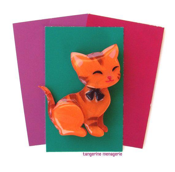 Cute Little Kitten Vintage-Inspired Novelty Brooch Pin by TangerineMenagerie on Etsy