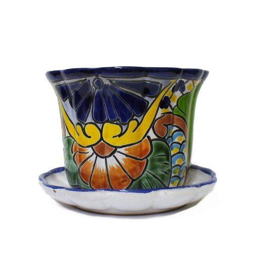"""Talavera African Violet Planter Pot with Attached Saucer, Assorted Colors by Casa Cordova Imports by Creative Ventures. $19.00. Color and patterns WILL vary. Drainage Hole at bottom. Hand painted in Mexico. Approx 4 1/2"""" Tall, 6 3/4"""" Diameter at top. Talavera Planter Pot with attached Saucer. This is a small Talavera Planter Pot with attached Saucer measuring about 4 3/4"""" tall with a 6 3/4"""" diameter. The picture shows a typical painting style and the one you rece..."""