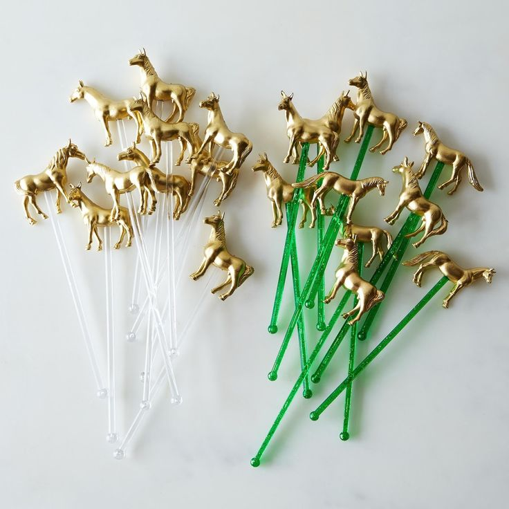 These golden pony drink stirrers are both kitschy and refined, classy and contemporary...and are therefore perfect for almost any occasion.