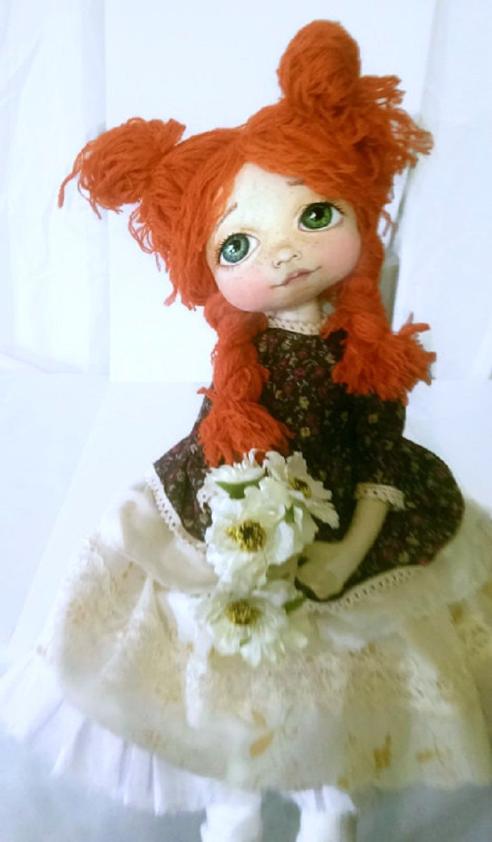 Cute handmade textile doll, painted face.  KamomillaDesign. https://www.etsy.com/shop/KamomillaDesign