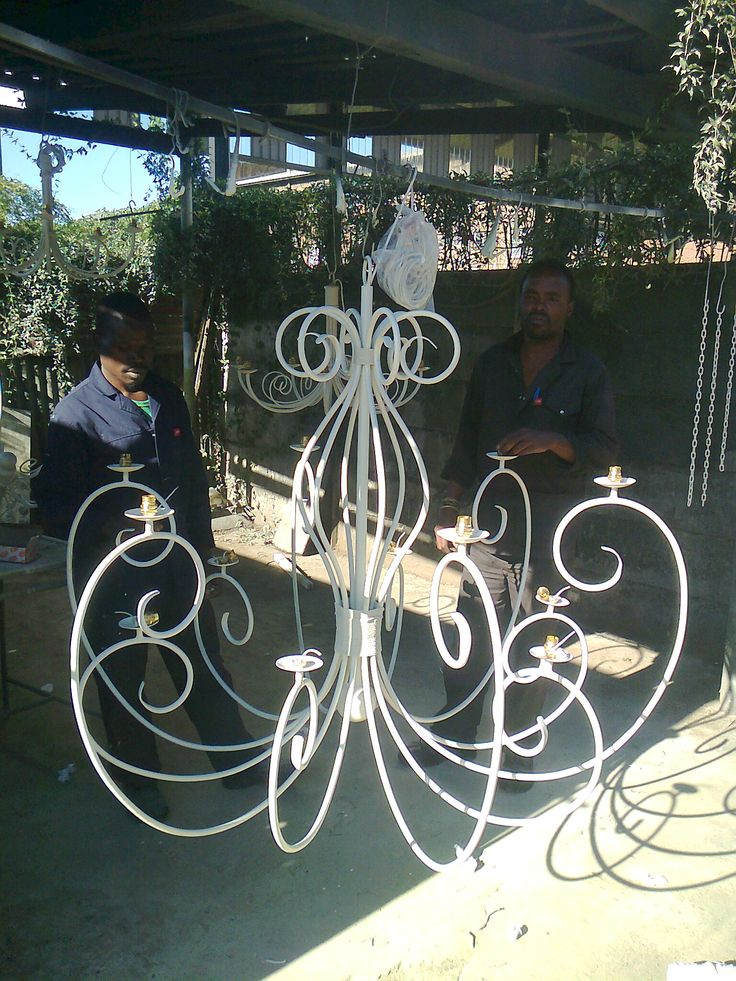 French white chandelier almost ready for delivery to a customers home. www.cherylincreations.co.za