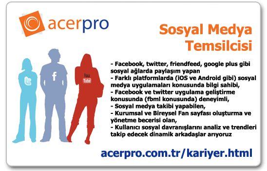 Sosyal Medya Temsilcisi Aranıyor - #acerpro #sosyalmedya #isilani #sosyalmedyatemsilcisi