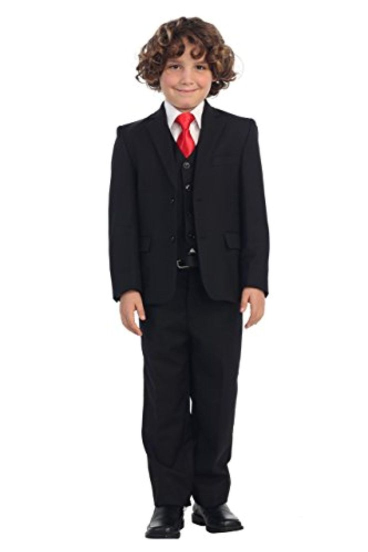 5 Piece Big Boys Black Suit, Vest, Pants, White Dress Shirt & Red Solid Tie Formal Set, 8 - Brought to you by Avarsha.com