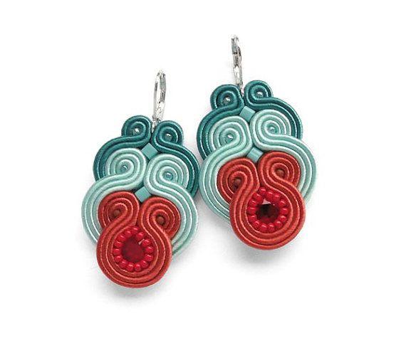 Soutache Orange and Turquoise Earrings, Statement Color Block Chandelier Earrings