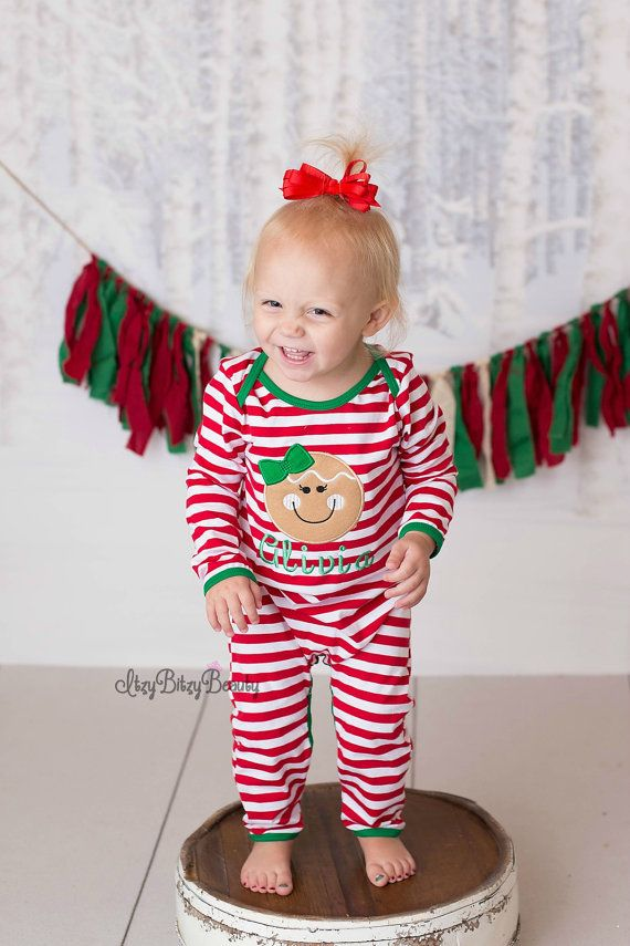 Gingerbread man Christmas pajamas red white by Itzybitzybeauty