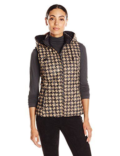 Pendleton Women's Reversible Print Quilted Vest, Camel Houndstooth/Black, XX-Large ** Find out more about the great product at the image link.