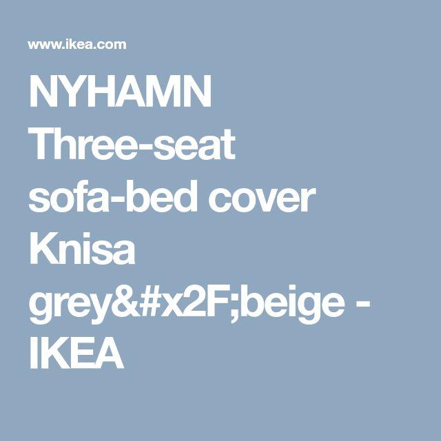 NYHAMN Three-seat sofa-bed cover Knisa grey/beige  - IKEA