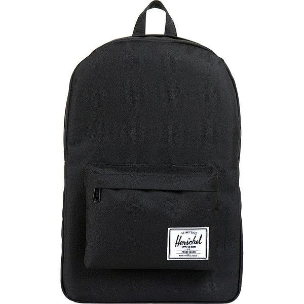 Herschel Classic Backpack - Black - School Backpacks (£35) ❤ liked on Polyvore featuring bags, backpacks, black, knapsack bag, daypack bag, herschel supply co backpack, day pack backpack and backpack bags