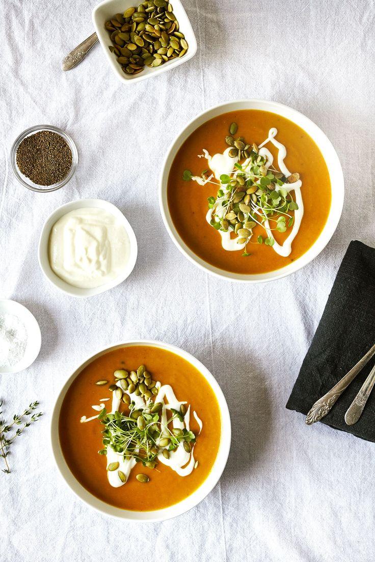 creamy coconut pumpkin soup with toasted pepitas (gluten-free, vegan) / sassy kitchen