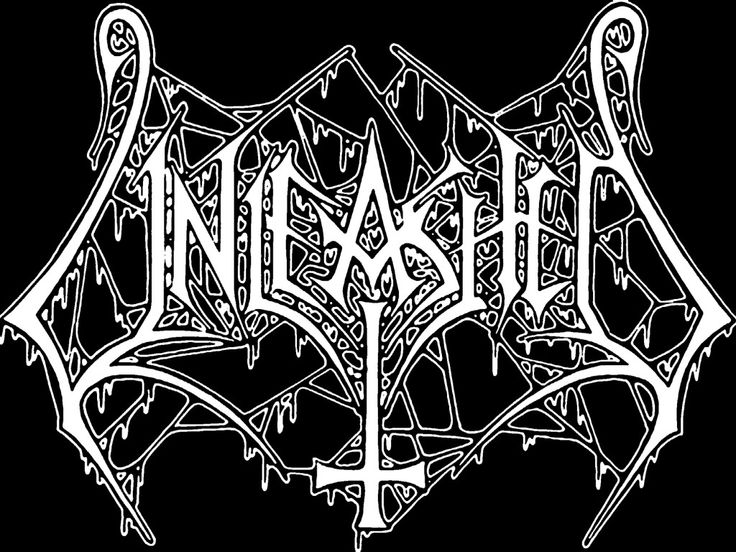 "The Beauty and Total Illegibility of Extreme Metal Logos | Unleashed's logo from 1989 is one of Riddick's favorites for its balance of beauty and ugliness. ""The overall imagery is precise and symmetrical, the inverted cross being thecenter point, flanked by clean and straight lines, soft fish hook-like curves, and finished off with an outline stroke that's completely oozing with phlegm,"" he says. 