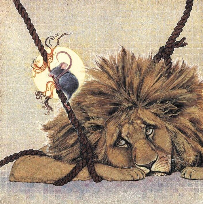 лев и мышь сказка с картинками современном