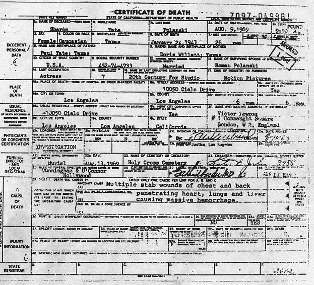Sharon Tate death certificate.