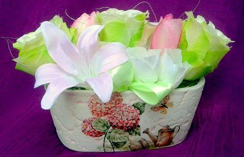 Almazöld - rózsaszín virágdísz kerámia kaspóban (pinkrose) - Meska.hu