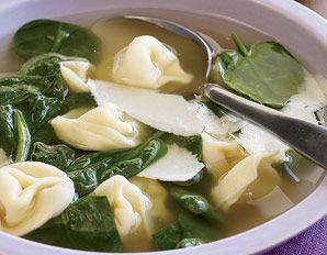 I make this every winter, I can't wait for the cold weather!!  250 calorie tortellini and spinach soup!