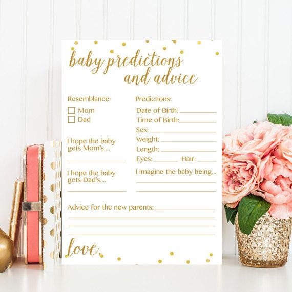 Baby Predictions and Advice Printable Card  by PrettyCollected