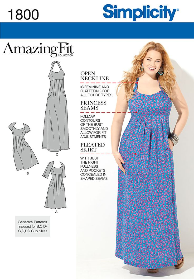 Empire Waist Pleated Dress in Misses' & Plus Sizes. We've done the fitting for you with customized pattern pieces designed to fit your shape! Dress has front pleats and pockets, and can be made in two lengths. Amazing Fit Pattern 1800.