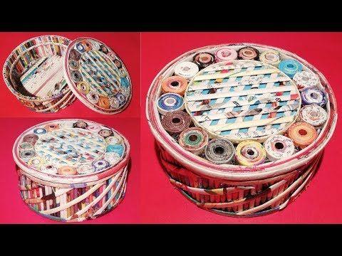 How to make a jewellery box using newspaper & Cardboard DIY Newspaper Craft Idea LifeStyle Designs - YouTube