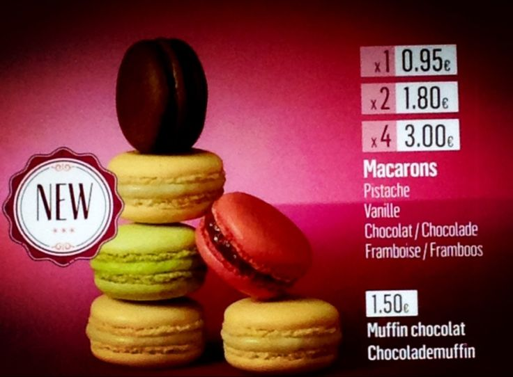 mcdonalds price list macarons belgium brussels euro chocolate vanilla raspberry pistachio