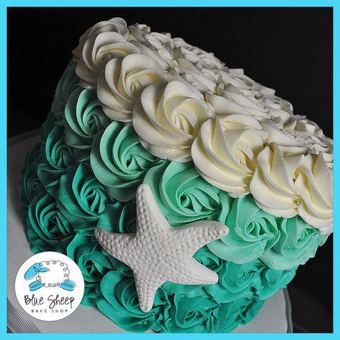 Buttercream Turquoise Rosette Ombre Cake Turquoise