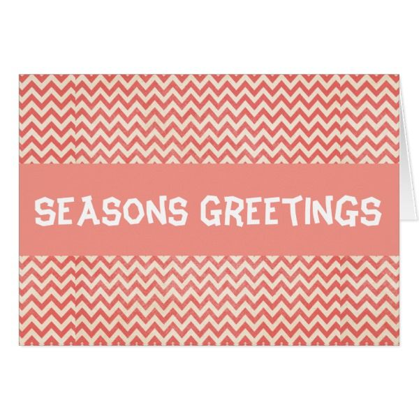 Red Chevron Season's Greeting Design Card #cards #christmascard #holiday