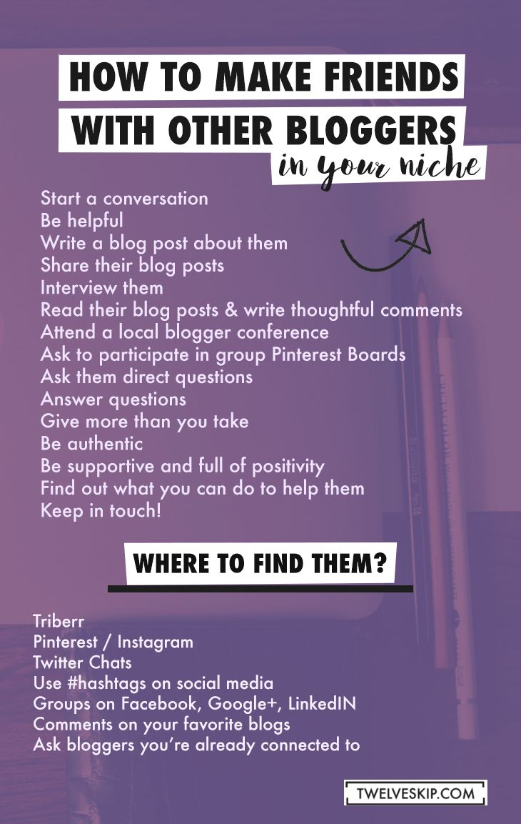 How To Make Blogging Friends In Your Niche http://www.twelveskip.com/guide/blogging/1402/make-blogging-friends-in-your-niche