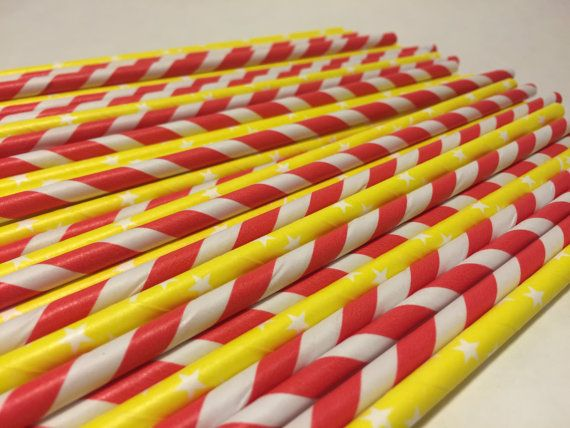 Carnival Paper Straws Circus Paper Straws by MadHatterPartyBox