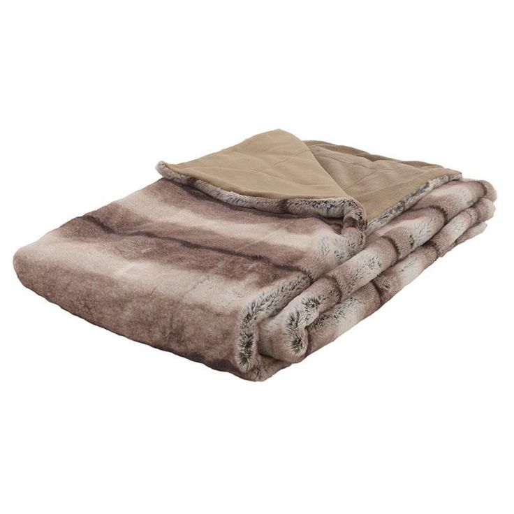 SYNTHETIC FUR THROW IN BEIGE-BROWN COLOR 150X180 - Furs - FABRIC ITEMS