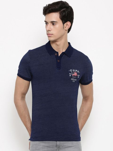 1b825ecd Buy U.S. Polo Assn. Denim Co. Men Navy Blue Printed Polo Collar T Shirt -  Tshirts for Men 1967018 | Myntra