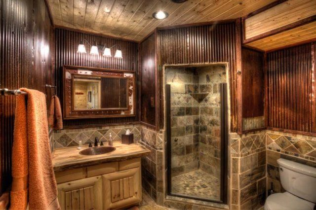 Bathroom dream homes pinterest maisons en bois for Adirondack bathroom ideas