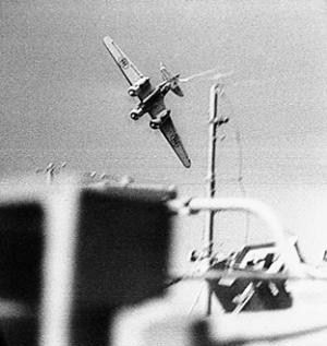 "fcba: ""An Italian SM.79 Sparviero dives to attack Allied convoys heading for Malta. (Photo) """