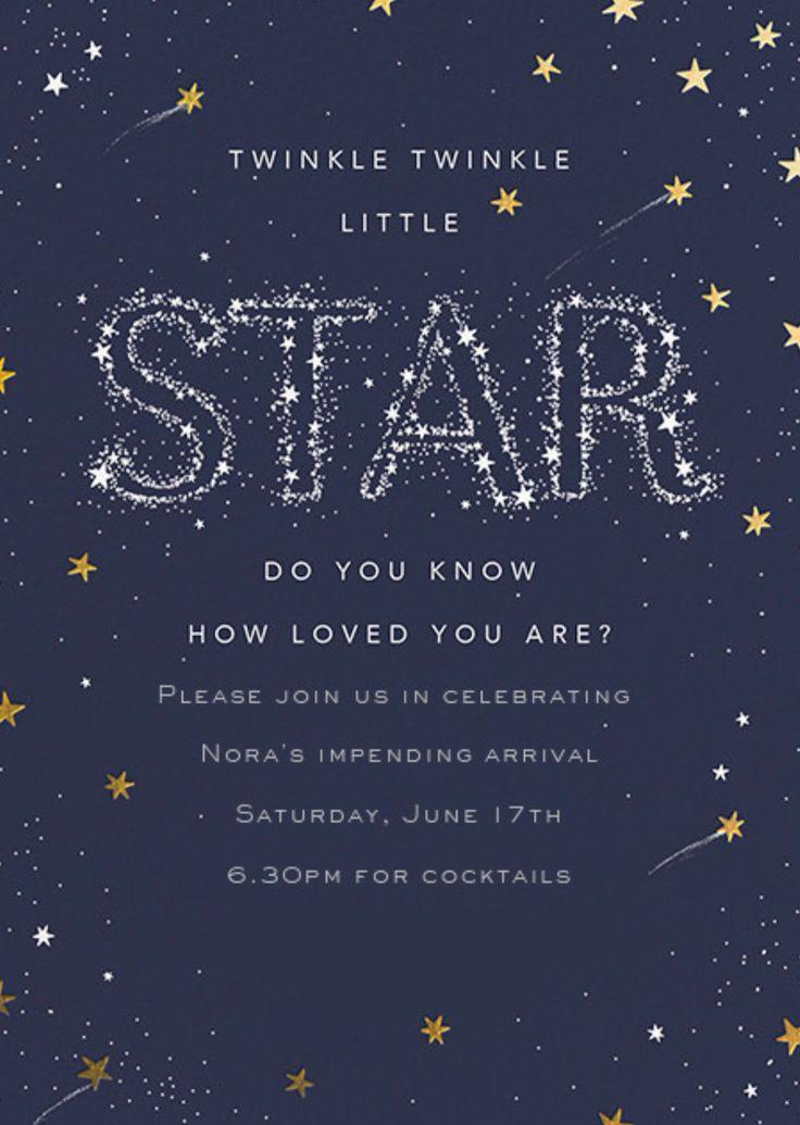 Twinkle Twinkle Little Star Themed Baby Shower Invitation