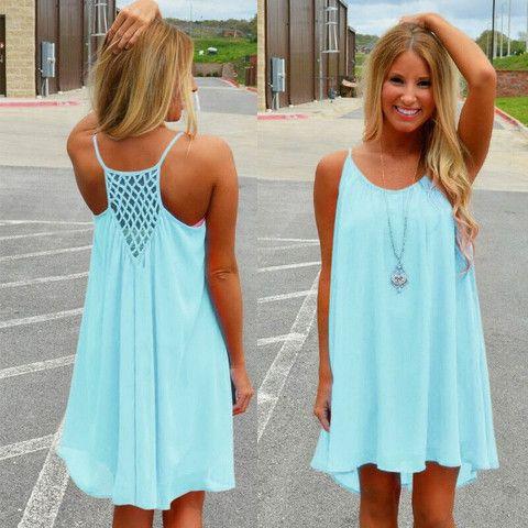 Summer Dress 2016 chiffon female dress backless summer style vestido de festa sundress plus size women clothing robe beach dress