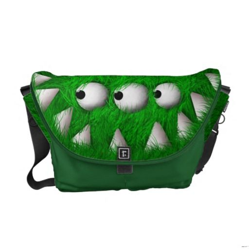 Green Scary Furry Monster Courier Bags