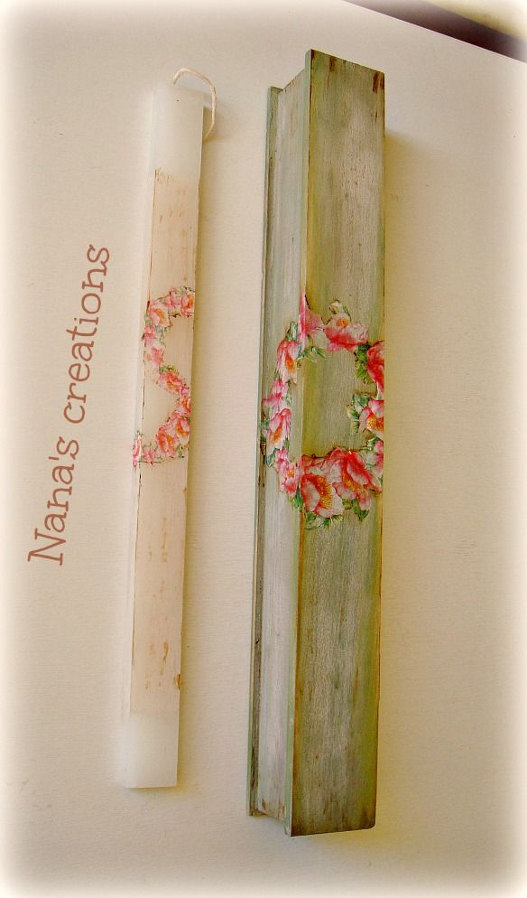 Decoupage Easter candle and wooden box
