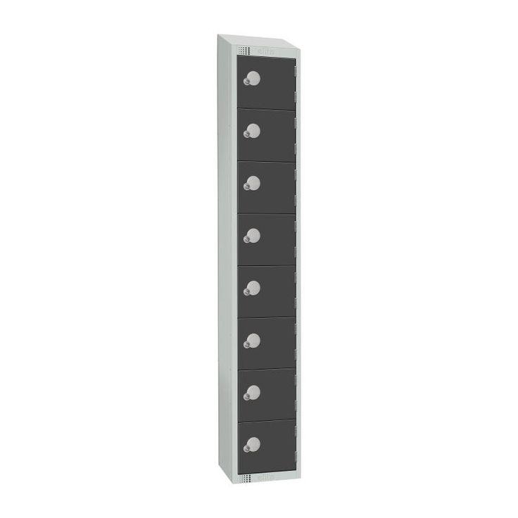 Elite Eight Door Padlock Locker with Sloping Top Graphite Grey - GR697-PS